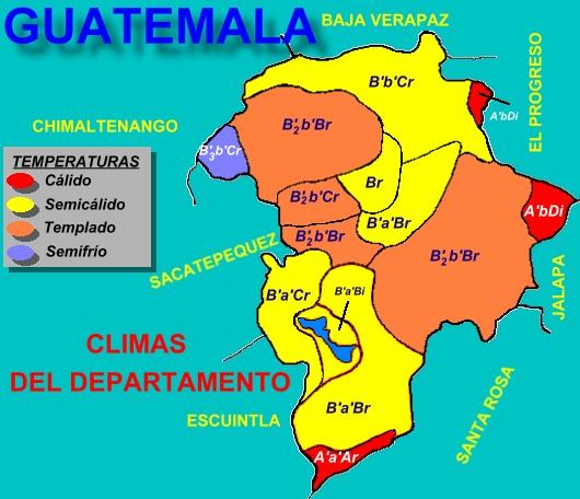 MAPA DE CLIMAS DEL DEPARTAMENTO DE GUATEMALA