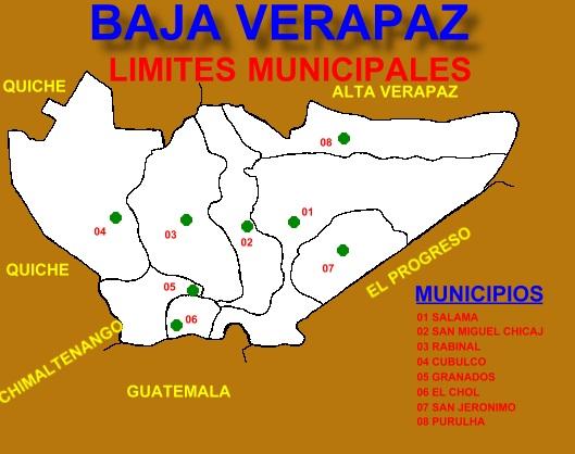 LIMITES MUNICIPALES DE BAJA VERAPAZ