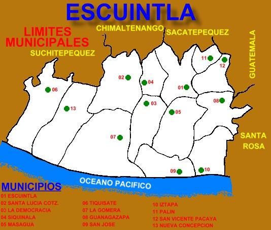 LIMITES MUNICIPALES DE ESCUINTLA