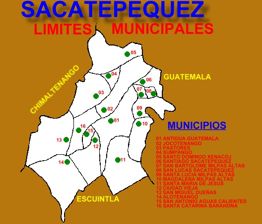 LIMITES MUNICIPALES DEL DEPARTAMENTO DE SACATEPEQUEZ