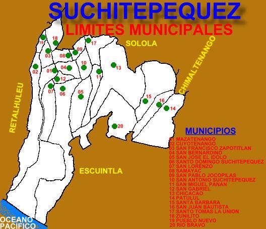 LIMITES MUNICIPALES SUCHITEPEQUEZ