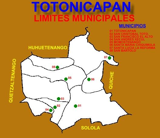 LIMITES MUNICIPALES DE TOTONICAPAN