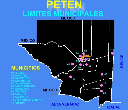 MAPA LIMITES MUNICIPALES DE PETEN