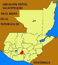 UBICACION DEPARTAMENTO DE SACATEPEQUEN EN EL MAPA DE LA REPUBLICA DE GUATEMALA