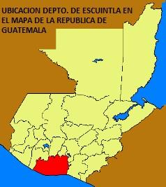 UBICACION DEPARTAMENTO DE ESCUINTLA EN MAPA DE LA REPUBLICA