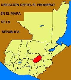 UBICACION DEPTO. EL PROGRESO EN EL MAPA DE LA REPUBLICA DE GUATEMALA