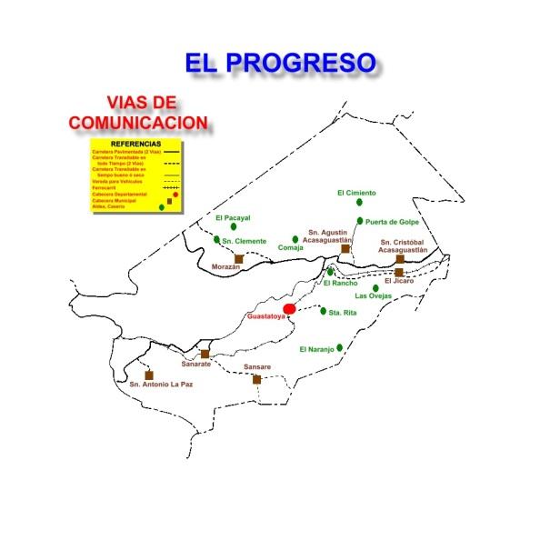 VIAS DE COMUNICACION DEL DEPARTAMENTO DE EL PROGRESO