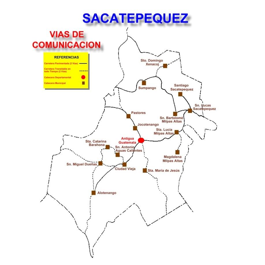 VIAS DE COMUNICACION DEL DEPARTAMENTO DE SACATEPEQUEZ