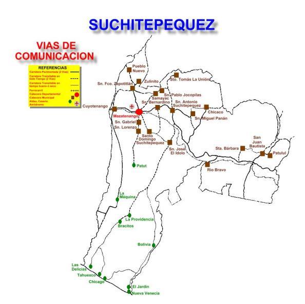 VIAS DE COMUNICACION SUCHITEPEQUEZ
