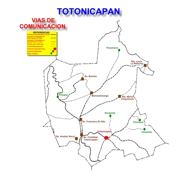 VIAS DE COMUNICACION DE TOTONICAPAN